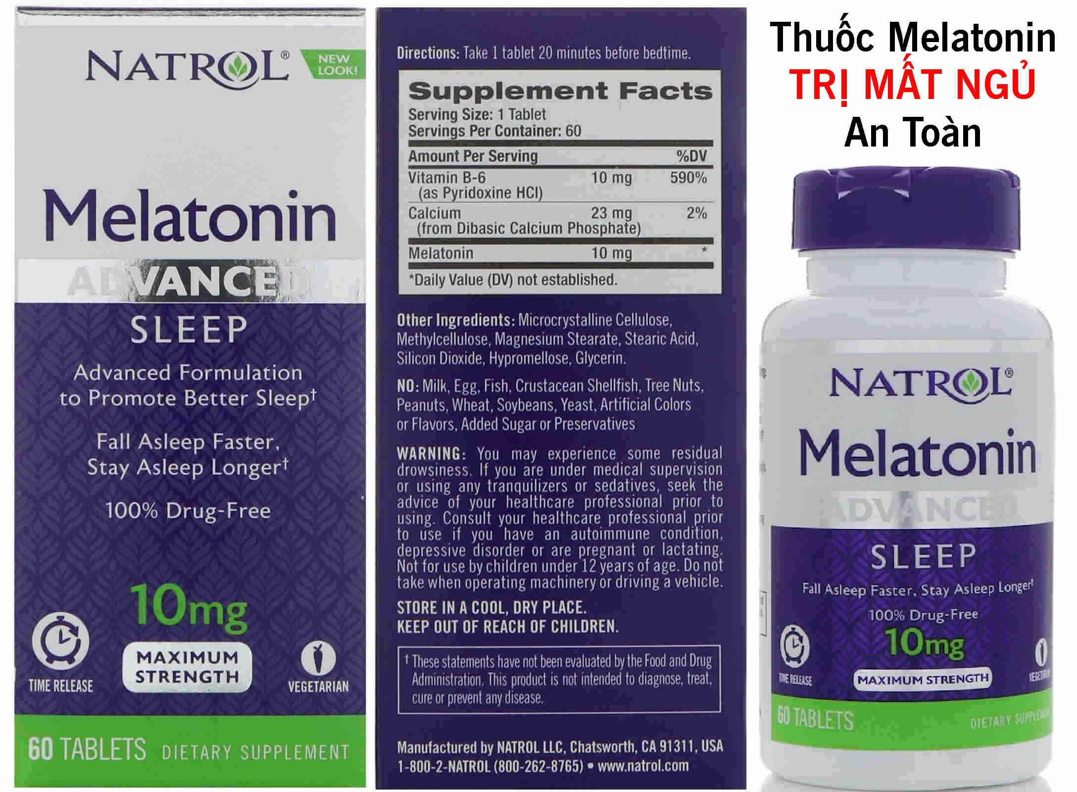 Toàn quốc - Viên uống Trị Mất Ngủ Melatonin 3mg, 5mg, 10mg Của Mỹ Mat-ngu